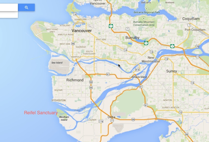 Map showing location of the sanctuary, just south of Vancouver