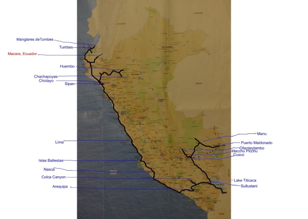 Map of Route in Peru (Image Val & Peter Fowler)